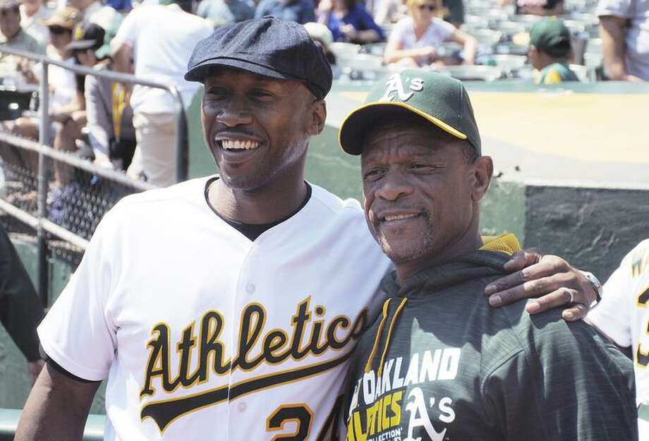 """""""Moonlight"""" actor and Oakland native Mahershala Ali visited the Coliseum in 2016. Photo: Laiken Whitters / Laiken Whitters / Oakland Athletics"""