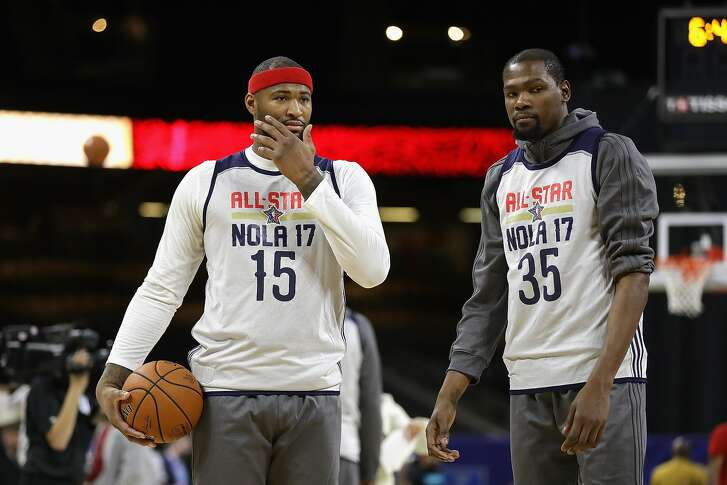 NEW ORLEANS, LA - FEBRUARY 18:  DeMarcus Cousins #15 of the Sacramento Kings and Kevin Durant #35 of the Golden State Warriors attend practice for the 2017 NBA All-Star Game at the Mercedes-Benz Superdome on February 18, 2017 in New Orleans, Louisiana.  (Photo by Ronald Martinez/Getty Images)