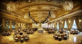 The lavish Mar-a-Lago ballroom that Trump built at a cost of $9 million after acquiring the former Marjorie Merriweather Post estate. His and Donald J. Trump Jr.'s wedding receptions were held here 11 months apart in 2005.
