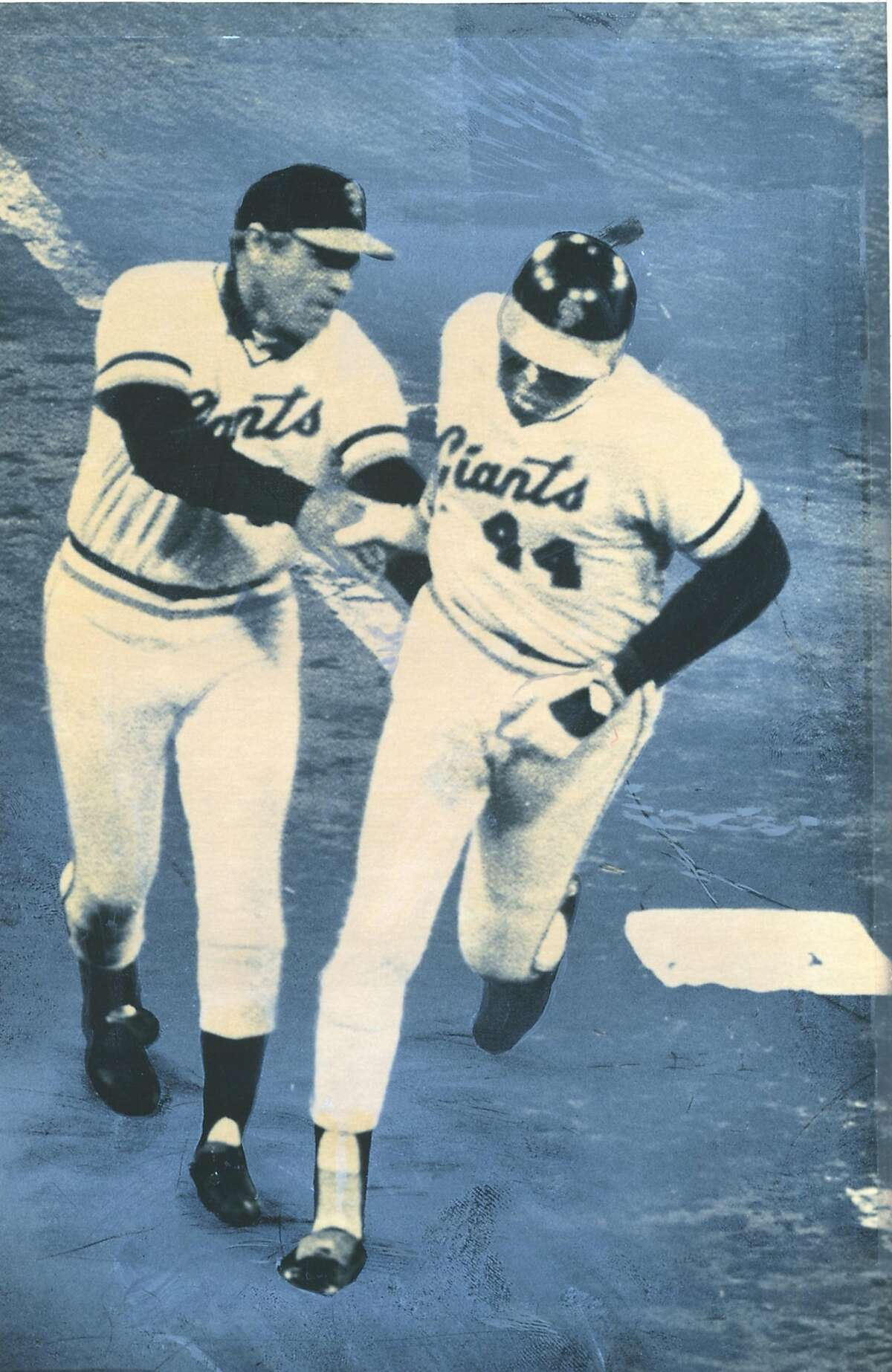 McCovey08_3.jpg Willie McCovey hits his 513th career home run on June 16, 1979, passing Ernie Banks and Eddie Mathews on all-time list. Coach Dave Bristol also pictured. AP Chronicle File