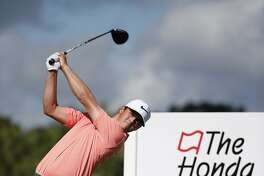 Cody Gribble tees off on the 12th tee during the first round of the Honda Classic golf tournament, Thursday, Feb. 23, 2017, in Palm Beach Gardens, Fla. (AP Photo/Wilfredo Lee)