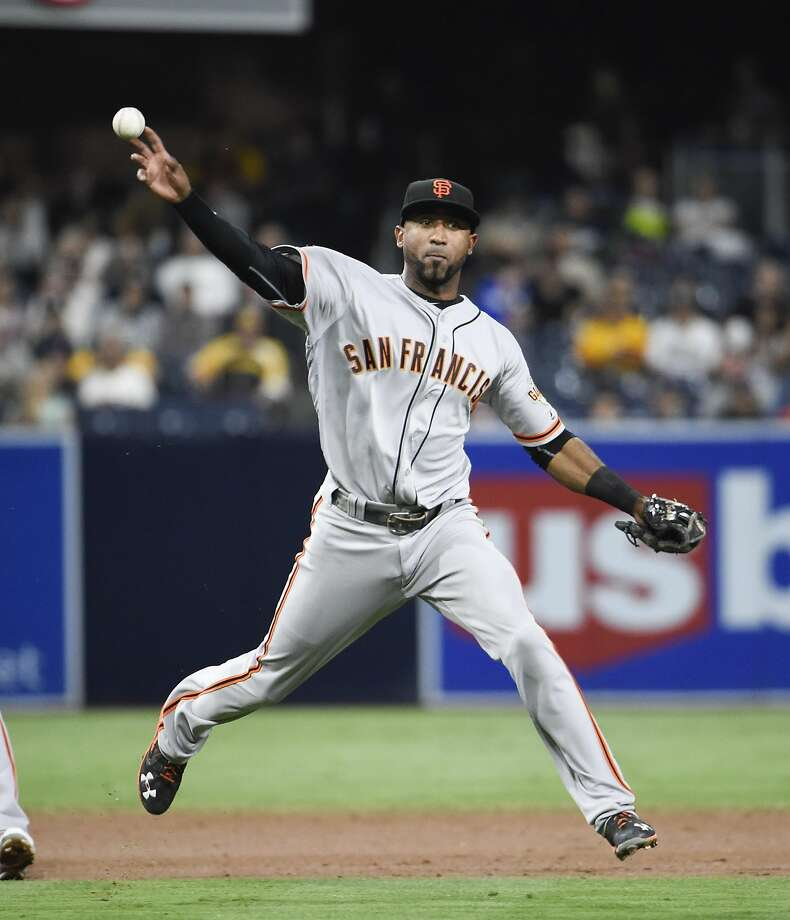 SAN DIEGO, CALIFORNIA - SEPTEMBER 23:  Eduardo Nunez #10 of the San Francisco Giants plays during a baseball game against the San Diego Padres at PETCO Park on September 23, 2016 in San Diego, California.  (Photo by Denis Poroy/Getty Images) Photo: Denis Poroy, Getty Images