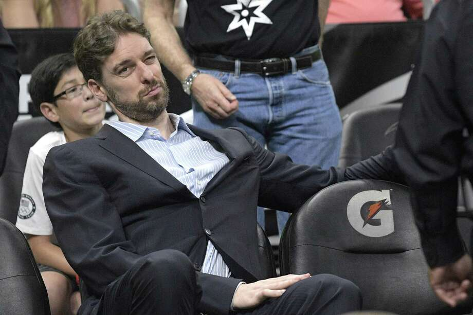 San Antonio Spurs center Pau Gasol watches from the bench during the second half of an NBA basketball game against the Orlando Magic in Orlando, Fla., Wednesday, Feb. 15, 2017. The Spurs won 107-79. (AP Photo/Phelan M. Ebenhack) Photo: Phelan M. Ebenhack, FRE / Associated Press / FR121174 AP