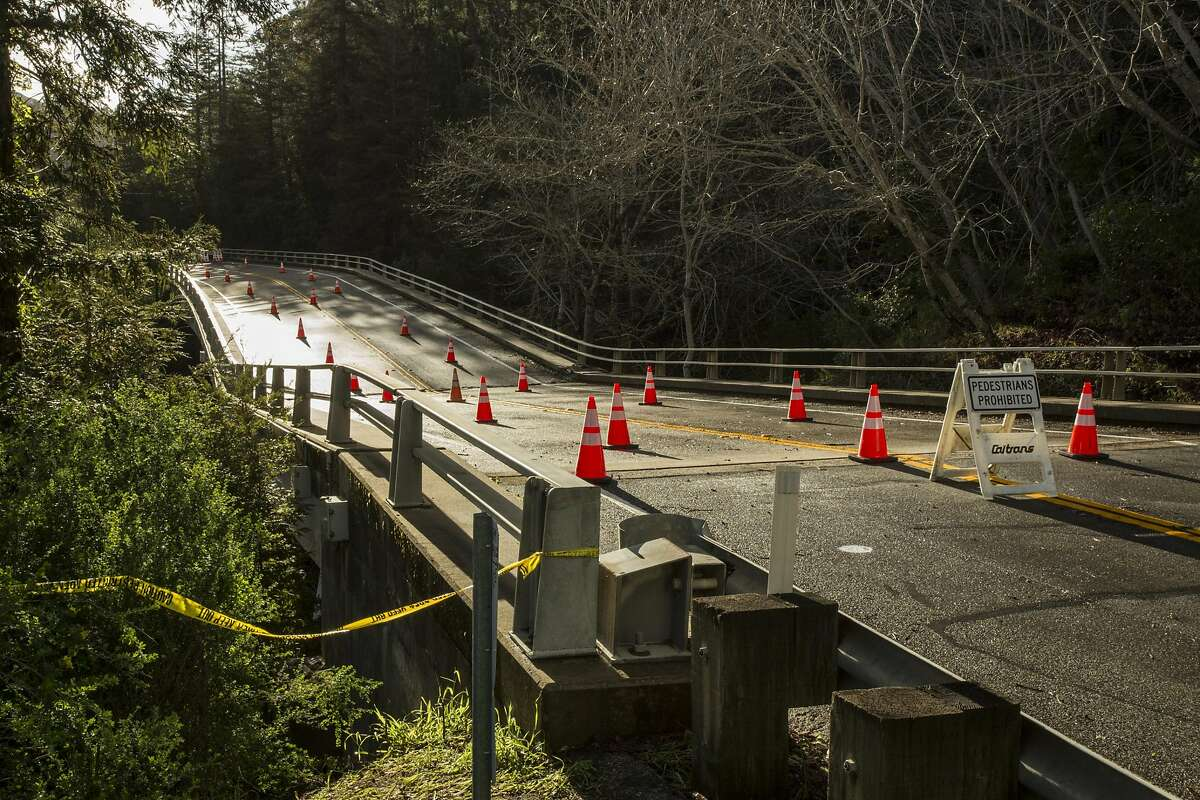 Pfeiffer Canyon Bridge along highway 1 in Big Sur Calif is sinking and cracking. the road is closed to foot traffic and vehicles. Big Sur, Calif, Feb 23 2017