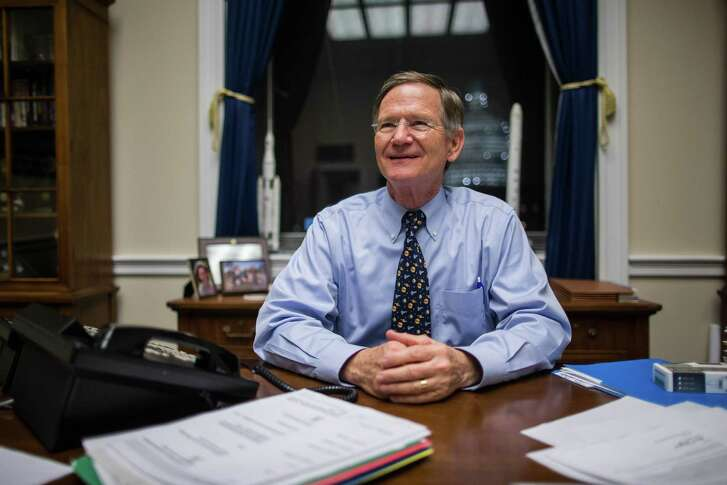FILE -- Rep. Lamar Smith (R-Texas), chair of  the House Committee on Science, Space and Technology, at his office in the Rayburn House Office Building in Washington, Dec. 2, 2015. Smith and other Republicans on the committee have long attacked a 2015 study the National Oceanic and Atmospheric Administration published that likely negates data in an earlier 2013 scientific paper that seemed to show that global warming had slowed since the late 1990s. (Zach Gibson/The New York Times)