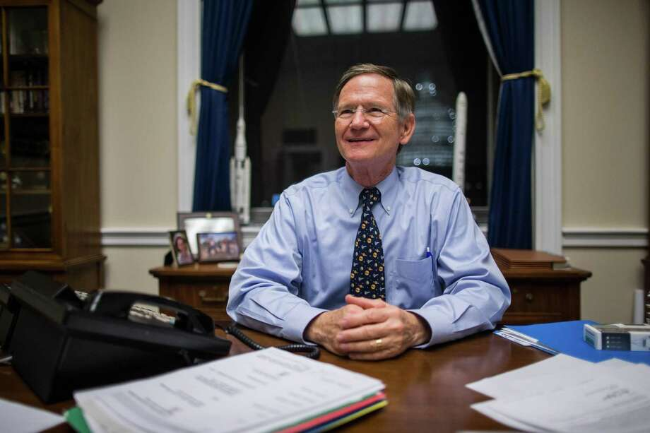 FILE -- Rep. Lamar Smith (R-Texas), chair of the House Committee on Science, Space and Technology, at his office in the Rayburn House Office Building in Washington, Dec. 2, 2015. Smith and other Republicans on the committee have long attacked a 2015 study the National Oceanic and Atmospheric Administration published that likely negates data in an earlier 2013 scientific paper that seemed to show that global warming had slowed since the late 1990s. (Zach Gibson/The New York Times) Photo: ZACH GIBSON, STF / NYTNS