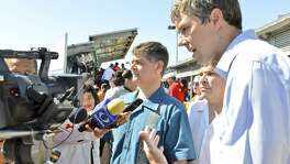 On the left is Congressman Filemon Vela Jr, D- Brownsville, and right is Congressman Beto O'Rourke, D-El Paso, on Thursday morning speaking to reporters during the Hands Across the Border ceremony at the Gateway International Bridge, part of the annual Charro Days fiesta.
