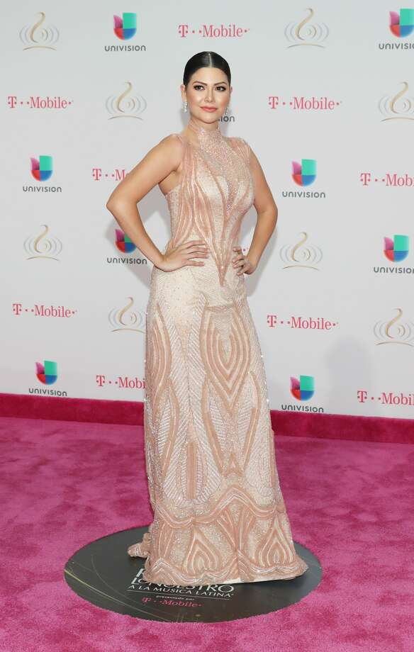 Best: Ana Patricia Gamez wears a gown in a beautiful blush color with gorgeous beading but...doesn't the design on the front remind of you something that can not be mentioned?Keep clicking to see the best and worst looks of the 29th Edition of the Lo Nuestro Awards presented by Univision.  Photo: Aaron Davidson/Getty Images For Univision Communications