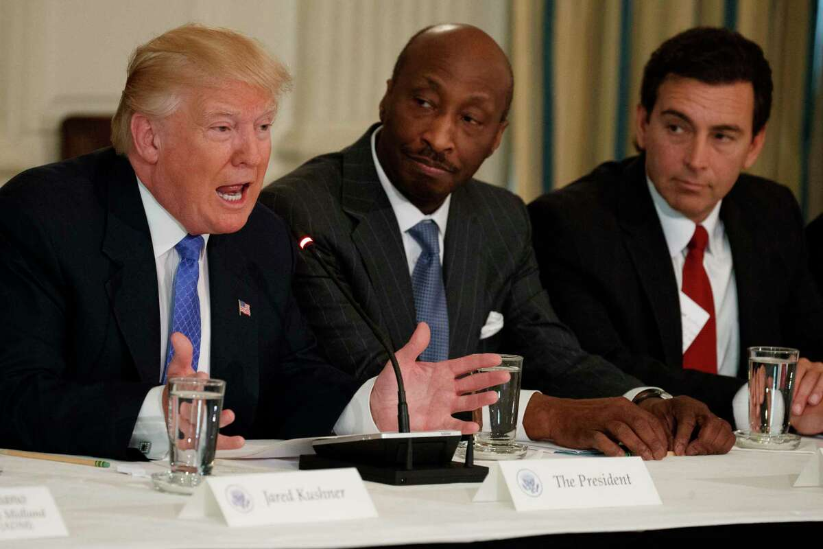President Donald Trump speaks during a meeting with manufacturing executives at the White House in Washington, Thursday, Feb. 23, 2017. From left are, Trump, Merck CEO Kenneth Frazier, and Ford CEO Mark Fields. (AP Photo/Evan Vucci) ORG XMIT: DCEV108