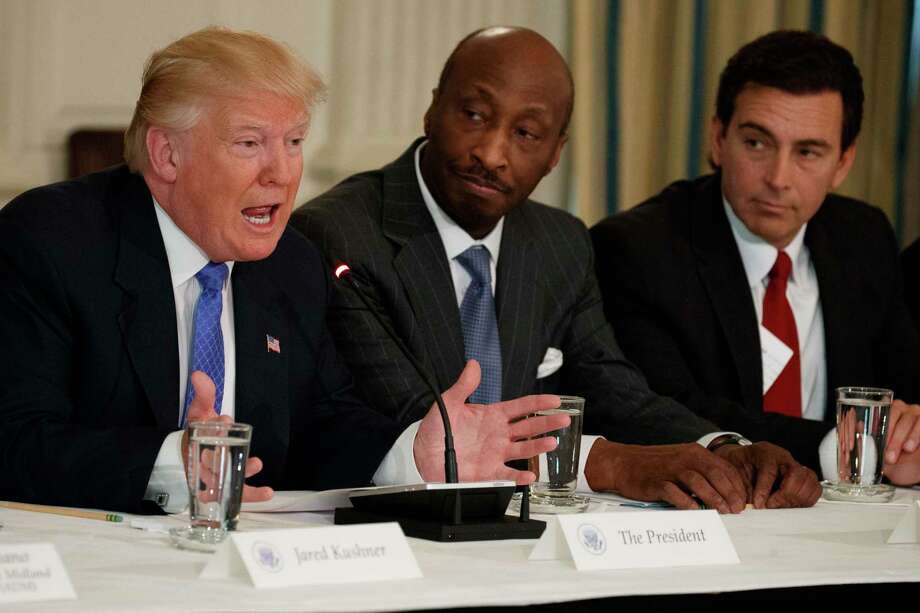 President Donald Trump speaks during a meeting with manufacturing executives at the White House in Washington, Thursday, Feb. 23, 2017. From left are, Trump, Merck CEO Kenneth Frazier, and Ford CEO Mark Fields. (AP Photo/Evan Vucci) ORG XMIT: DCEV108 Photo: Evan Vucci / Copyright 2017 The Associated Press. All rights reserved.