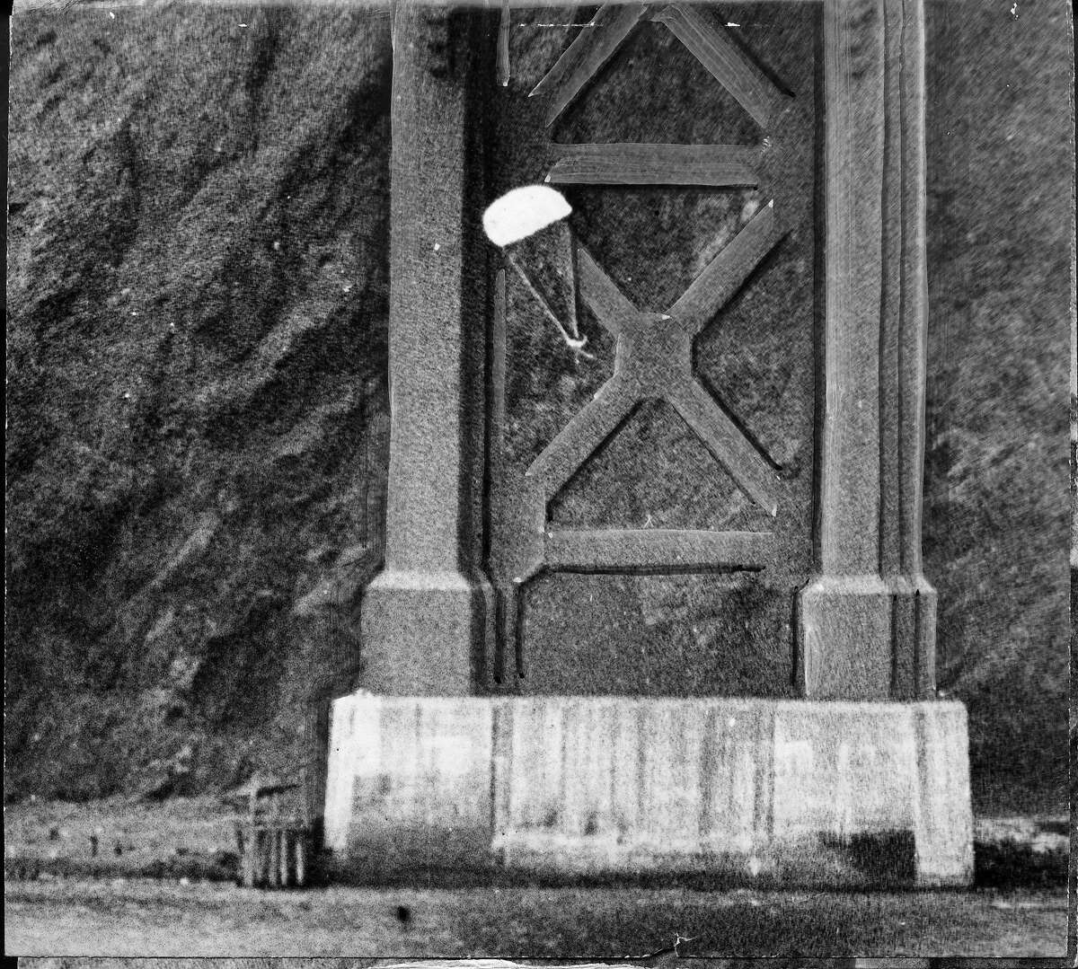 Chronicle Photographer Bob Campbell followed Parachutist Robert Niles successful 2nd attempt to parachute off the Golden Gate Bridge in 10 photos, April 15, 1949 Photo ran April 16, 1949, P. 1