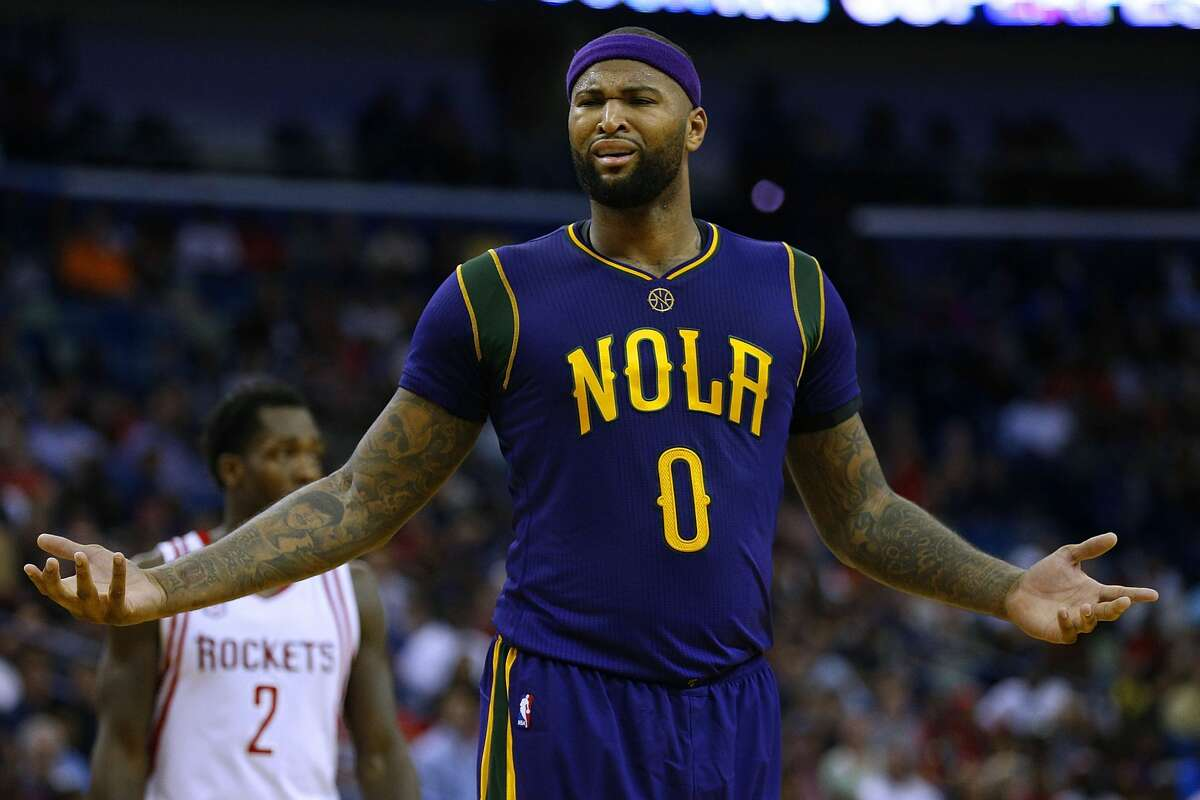 NEW ORLEANS, LA - FEBRUARY 23: DeMarcus Cousins #0 of the New Orleans Pelicans reacts during the second half of a game against the Houston Rockets at the Smoothie King Center on February 23, 2017 in New Orleans, Louisiana. NOTE TO USER: User expressly acknowledges and agrees that, by downloading and or using this photograph, User is consenting to the terms and conditions of the Getty Images License Agreement. (Photo by Jonathan Bachman/Getty Images)