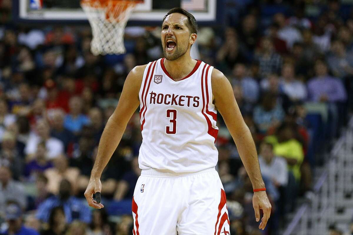 NEW ORLEANS, LA - FEBRUARY 23: Ryan Anderson #3 of the Houston Rockets celebrates during the second half of a game against the New Orleans Pelicans at the Smoothie King Center on February 23, 2017 in New Orleans, Louisiana. NOTE TO USER: User expressly acknowledges and agrees that, by downloading and or using this photograph, User is consenting to the terms and conditions of the Getty Images License Agreement. (Photo by Jonathan Bachman/Getty Images)