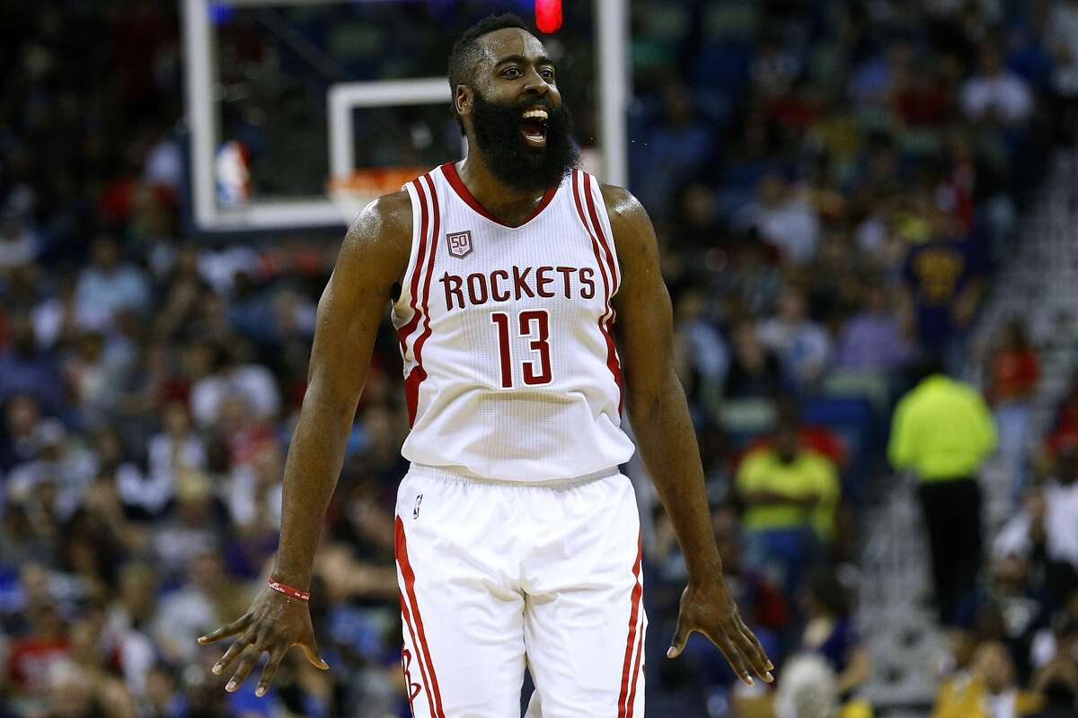 NEW ORLEANS, LA - FEBRUARY 23: James Harden #13 of the Houston Rockets celebrates during the second half of a game against the New Orleans Pelicans at the Smoothie King Center on February 23, 2017 in New Orleans, Louisiana. NOTE TO USER: User expressly acknowledges and agrees that, by downloading and or using this photograph, User is consenting to the terms and conditions of the Getty Images License Agreement. (Photo by Jonathan Bachman/Getty Images)