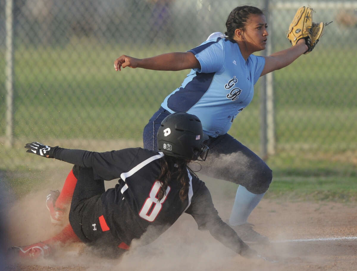 Greenwood's Karina Galindo makes an out at third base against Brownfield on Thursday, Feb. 23, 2017, at Freddie Ezell Softball Complex. James Durbin/Reporter-Telegram