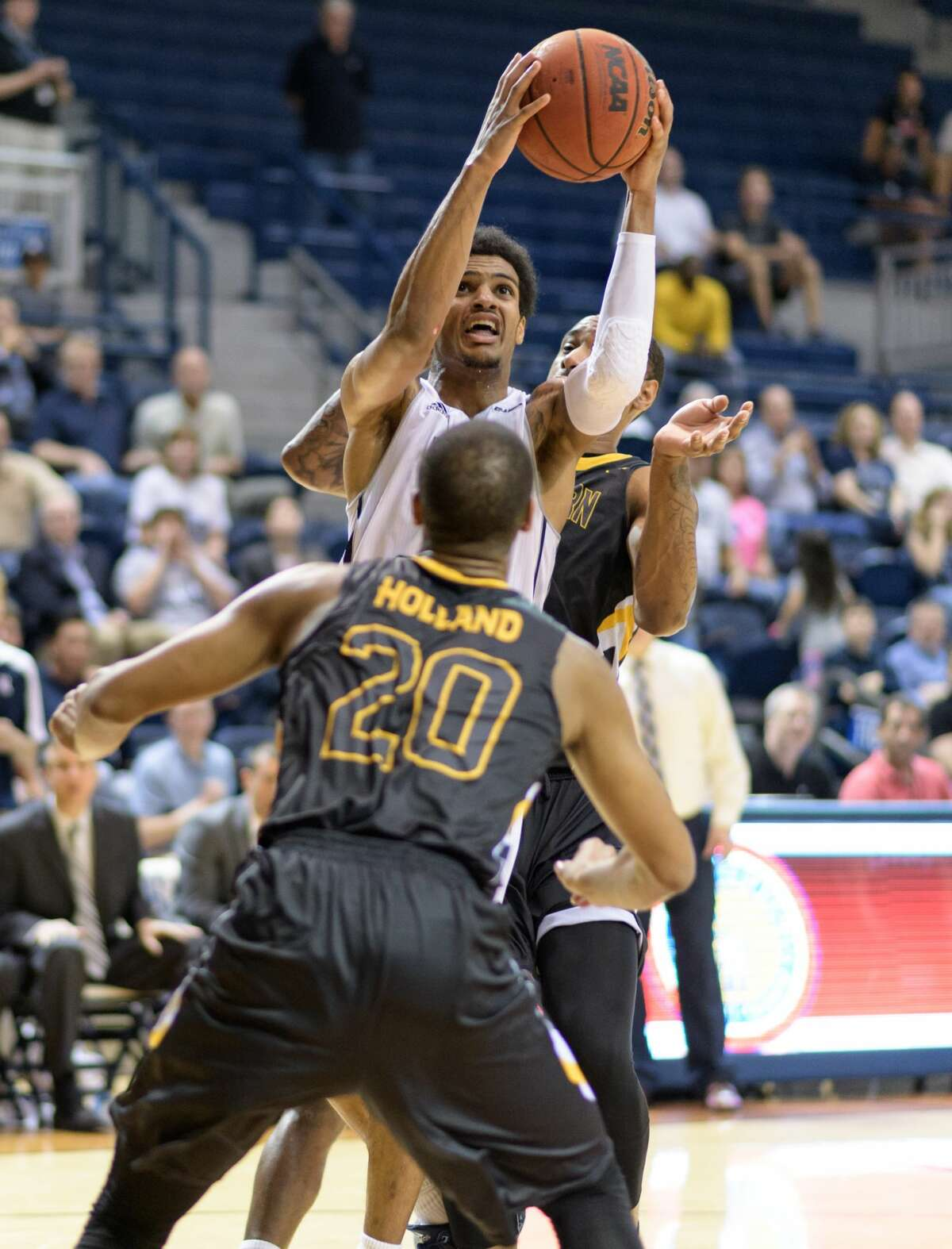 Marcus Evans (2) of the Rice Owls drives for the game winning basket in overtime against the Southern Miss Golden Eagles in a college basketball game on Thursday, February 23, 2017 at Tudor Fieldhouse on Rice Campus.