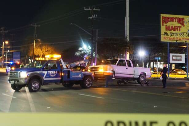 A truck is removed from the scene of an accident in the 300 block of South W.W. White Road that left one man dead Thursday night.