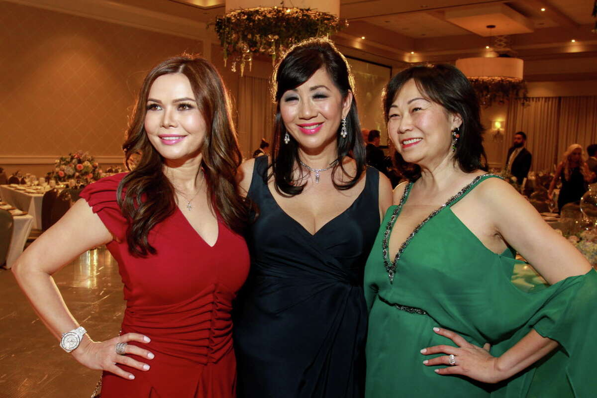 Amy Dichoso, from left, Alice Mao Brams and Grace Lynn at the KnowAutism Gala. (For the Chronicle/Gary Fountain, February 23, 2017)