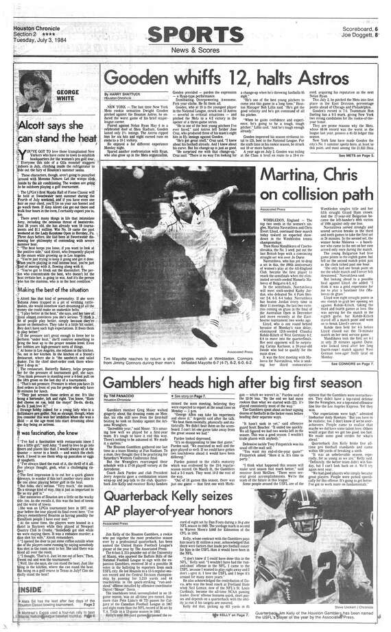 Houston Chronicle inside page - July 3, 1984 - section 2, page 1.  Gamblers' heads high after big first season.  Quarterback Kelly seizes AP player-of-year honors. Photo: HC Staff / Houston Chronicle