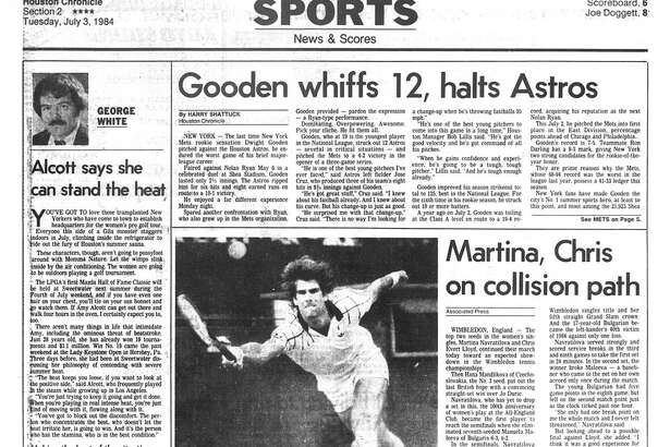 Houston Chronicle inside page - July 3, 1984 - section 2, page 1.  Gamblers' heads high after big first season.  Quarterback Kelly seizes AP player-of-year honors.
