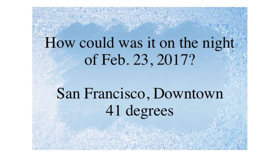 Temperatures around the Bay Area dropped on the night of Thursday, Feb., 23, 2017. Photo: Getty