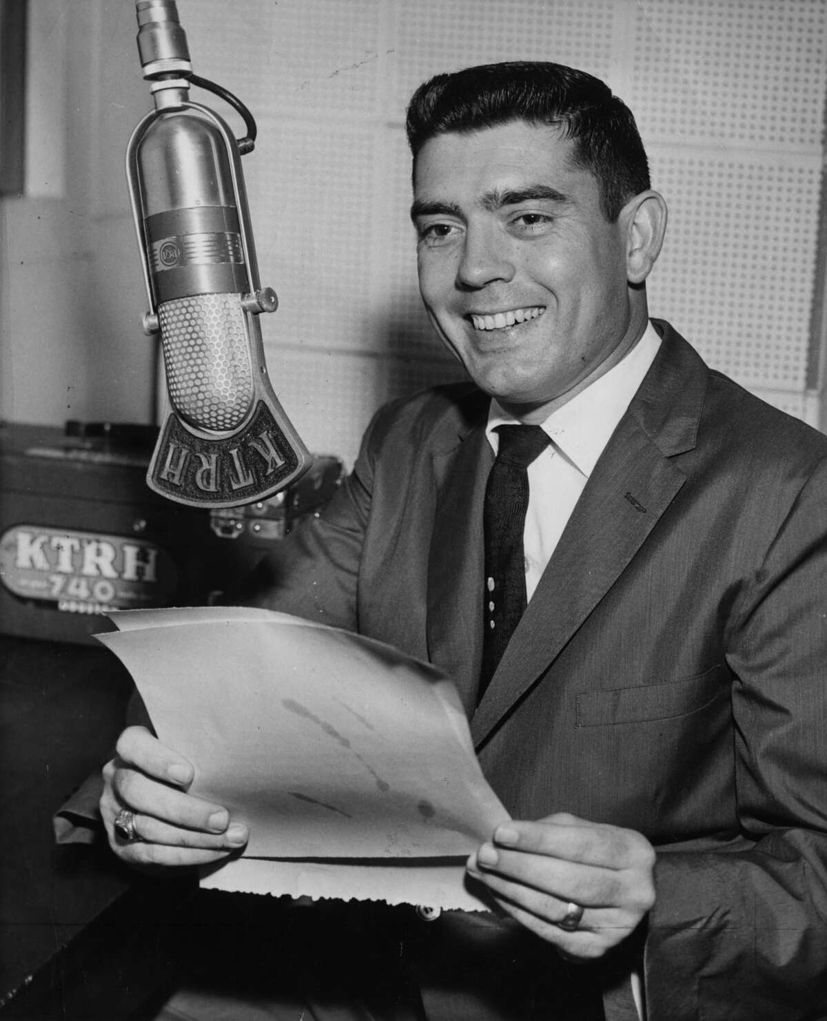 Newsman Dan Rather behind the microphone at KTRH, where became the news director in 1956.