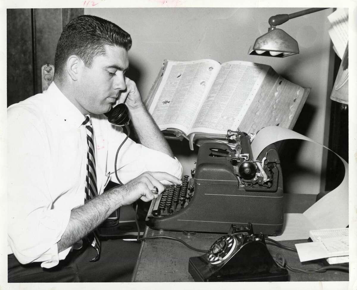 Dan Rather at KTRH as news director Nov. 2, 1958.