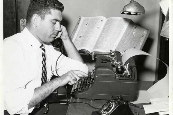 PHOTO FILED: DAN RATHER.  11/02/1958 - Dan Rather at KTRH as News Director Nov. 2, 1958, photo by Arrow Arts Strudios