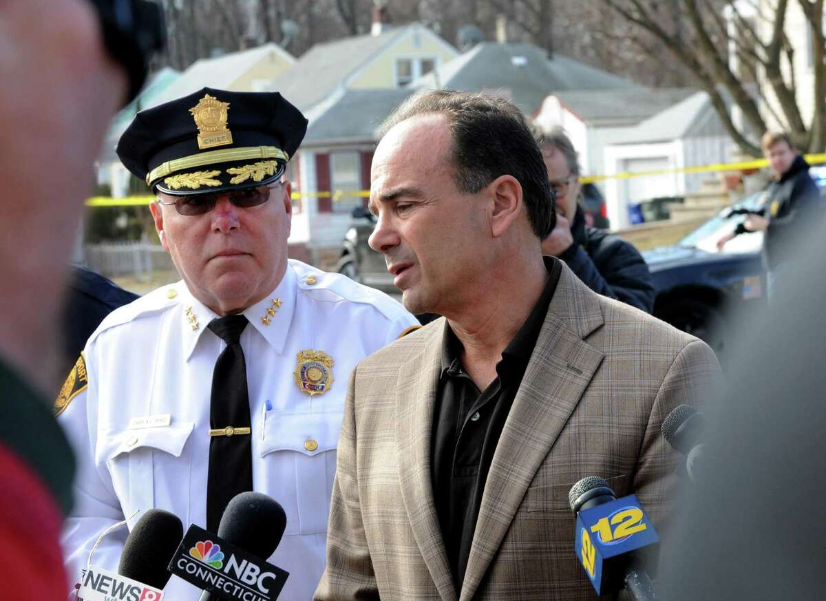 Police Chief Armando Perez and Mayor Joe Ganim address the press at the scene of a homicide at a home on Greenwood Street in Bridgeport, Conn. on Friday, Feb. 24, 2017. Police said a 26-year-old mothers killing was the result of domestic violence by her boyfriend, Oscar Hernandez, who lived at the home with her and their 6-year-old daughter, Aylin Sofia Hernandez. Oscar Hernandez, wanted for a fatal stabbing, has been captured in Pennsylvania. Aylin Sofia Hernandez, is safe.