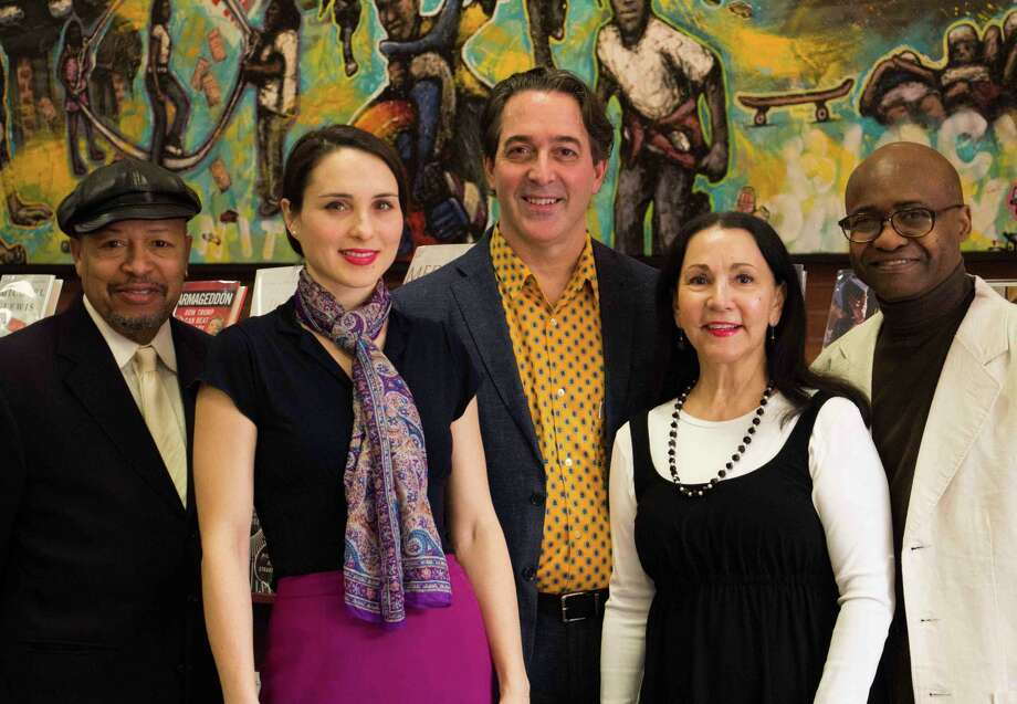 Pictured left-to right: Cookie Thomas, Margi Gianquinto, Jim Clark, Maria Tiscia, and Neddy Smith perform at the Norwalk Public Library on Feb. 26. Photo: Contributed Photo / Belinda Clark