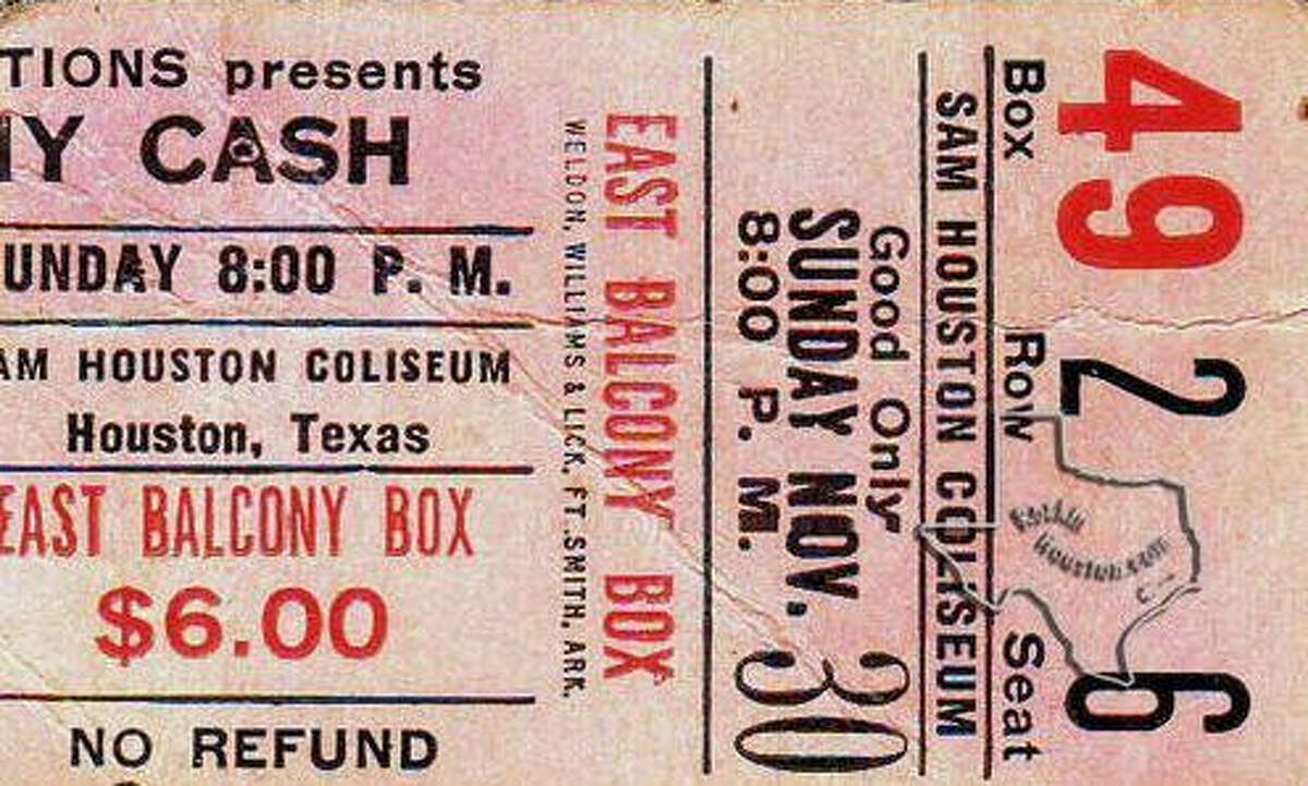 A ticket stub from Johnny Cash's November 30, 1969 show at the Sam Houston Coliseum.