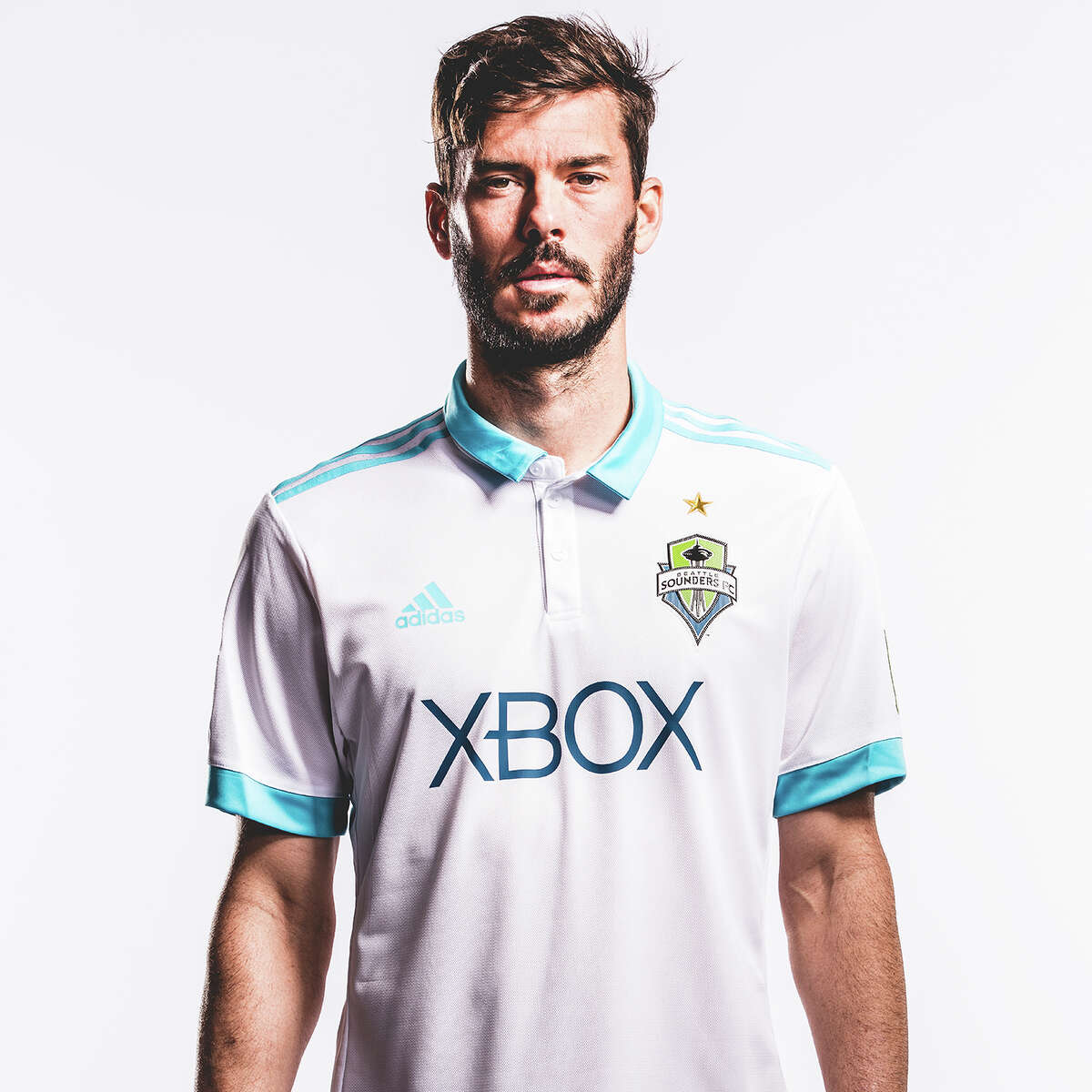Brad Evans models the Sounders' new secondary