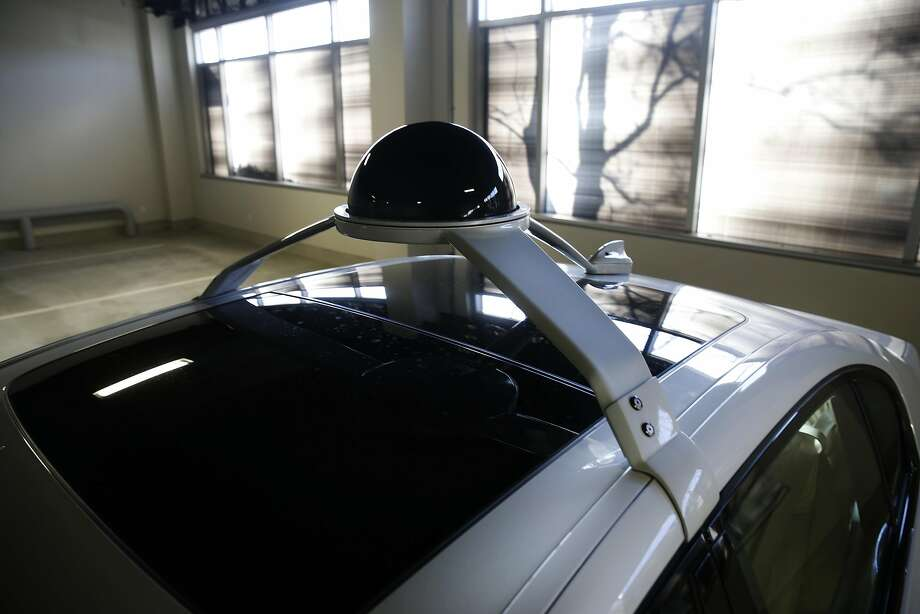 Lidar sensors are mounted to the roof of a test vehicle at Intel's Silicon Valley Autonomous Driving Innovation Center in San Jose. Photo: Paul Chinn, The Chronicle