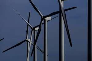 Desert Sky Wind Farm turbines twirl in the January 2017 wind near Iraan, Texas. The power generated goes to San Antonio, Texas