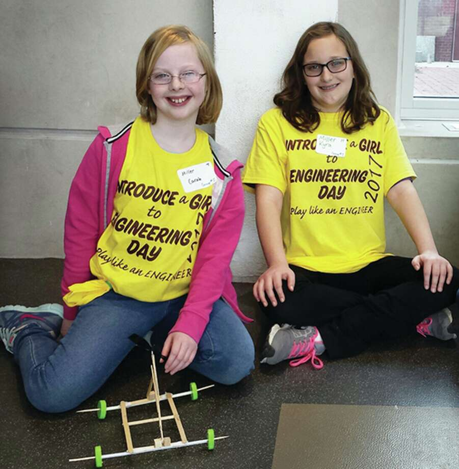 """Carah and Kyra Miller attended SIUE's fifth annual """"Introduce a Girl to Engineering Day."""" Photo: For The Intelligencer"""