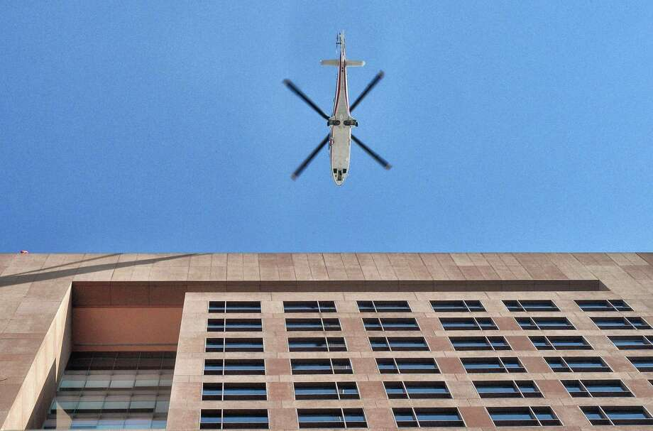 TOPSHOT - A helicopter arrives at the Foreign Ministry building in Mexico City, as US Secretary of State Rex Tillerson and US Secretary of Homeland Security John Kelly visit Mexico, on February 23, 2017. Mexico vowed not to let the United States impose migration reforms on it as its leaders prepared Thursday to host US officials Tillerson and Kelly who are cracking down on illegal immigrants. / AFP PHOTO / Pedro PARDOPEDRO PARDO/AFP/Getty Images Photo: PEDRO PARDO, Staff / AFP/Getty Images / AFP or licensors