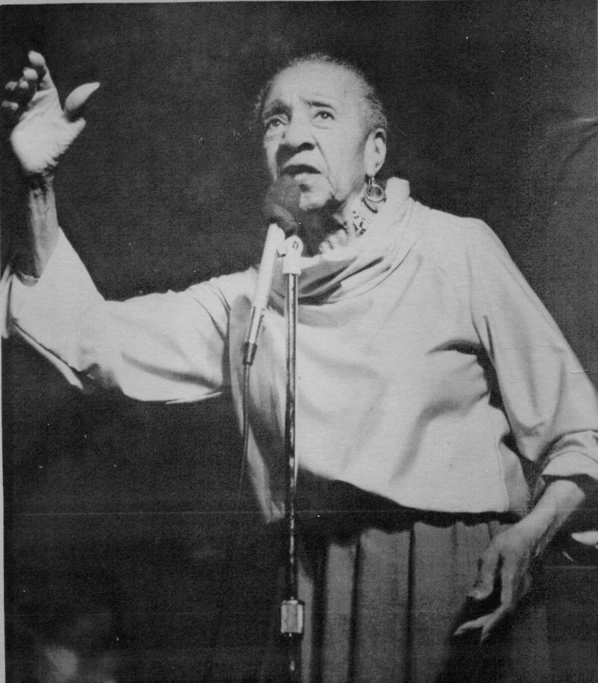 Blues singer Alberta Hunter whose voice delighted audiences for nearly 8 decades, shown here in 1978, performing at New York University's Loeb Center, presented as part of the Newport Jazz Festival.