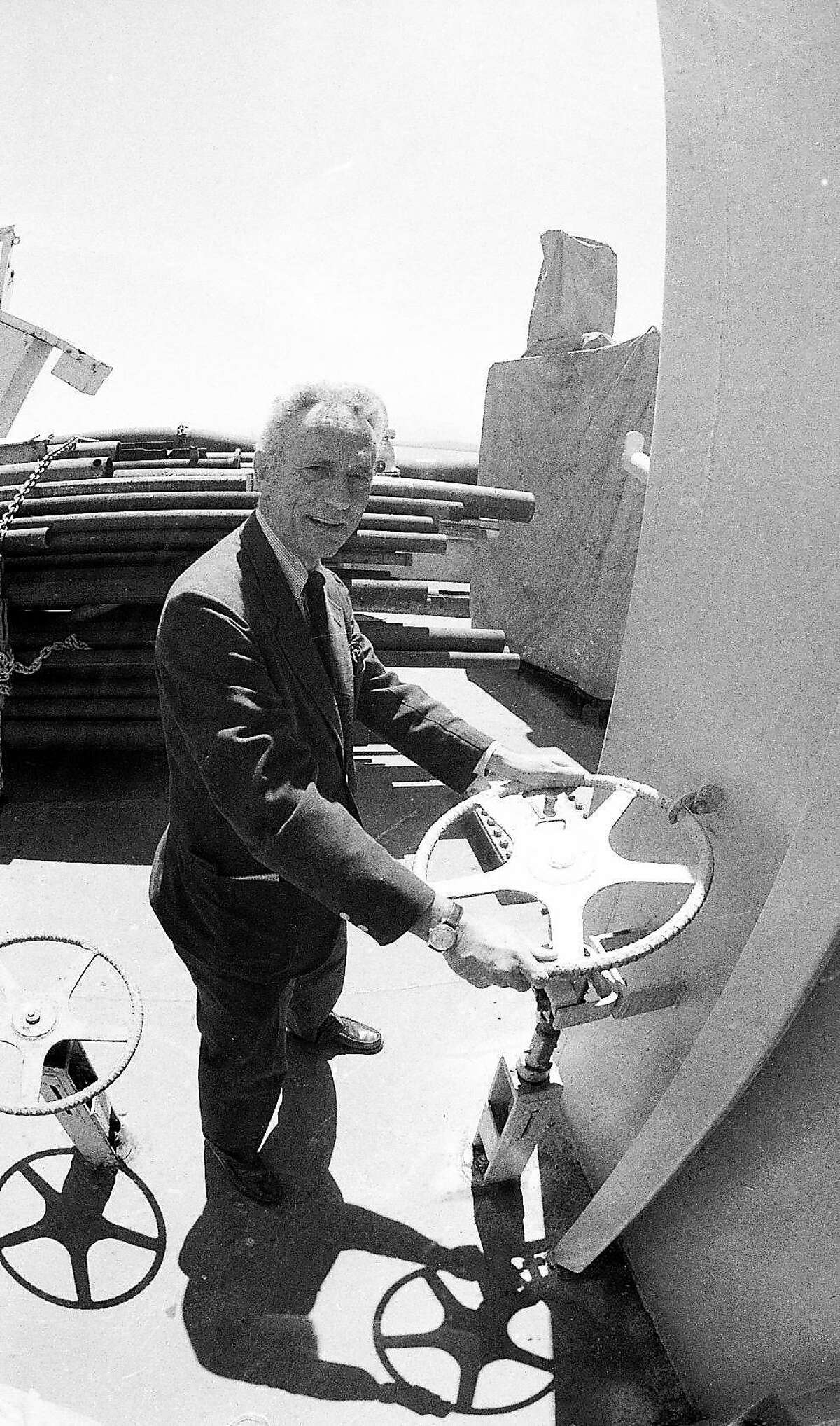 Science writer David Perlman on board the Glomar Explorer, May, 1 1981