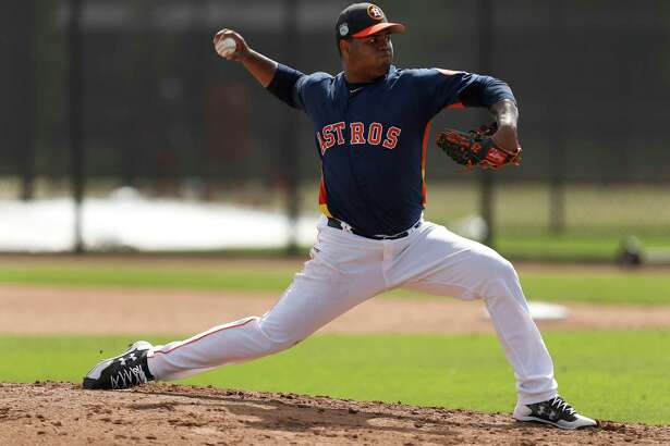 Houston Astros pitcher Francis Martes (79) pitches live batting practice during spring training at The Ballpark of the Palm Beaches, in West Palm Beach, Florida, Friday, February 24, 2017.