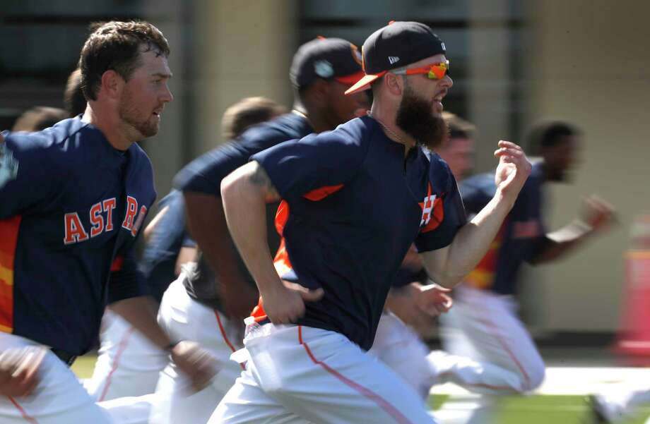 Houston Astros starting pitcher Dallas Keuchel (60) during a post workout run during spring training at The Ballpark of the Palm Beaches, in West Palm Beach, Florida, Friday, February 24, 2017. Photo: Karen Warren, Houston Chronicle / 2017 Houston Chronicle