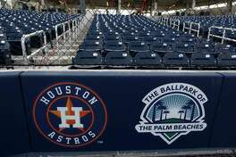 The Astros logo behind home plate in The Ballpark of the Palm Beaches, in West Palm Beach, Florida, Friday, February 24, 2017. Joint spring training home of the Houston Astros and the Washington Nationals.