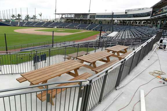 Picnic area on the third base side of the stadium at The Ballpark of the Palm Beaches, in West Palm Beach, Florida, Friday, February 24, 2017. Joint spring training home of the Houston Astros and the Washington Nationals.