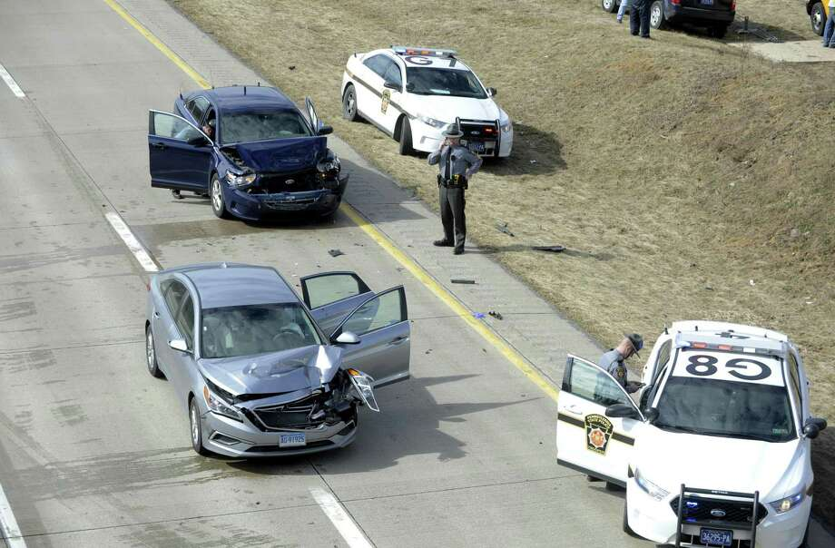 Pennsylvania State Police on the scene after a high speed pursuit on I-99 North bound near College Township, Pa, on Friday, Feb. 24, 2017. Police say a missing 6-year-old Connecticut girl and her father, Oscar Hernandez, a suspect in the homicide of Nidia Gonzalez, have been found. A multistate Amber Alert was issued for 6-year-old Aylin Sofia Hernandez on Friday after police responded to her Bridgeport, Conn. home to find her mother, Nidia Gonzalez, had been fatally stabbed. Another person in the home was also stabbed but is expected to survive. Photo: John Boogert /Centre Daily Times Via AP / Centre Daily Times
