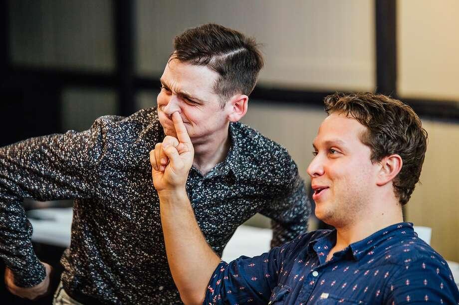 "From left: Sam Bertken and Max Maliga in rehearsal for Killing My Lobster's ""Sex Battle."" Photo: James Jordan Pictures, Killing My Lobster"