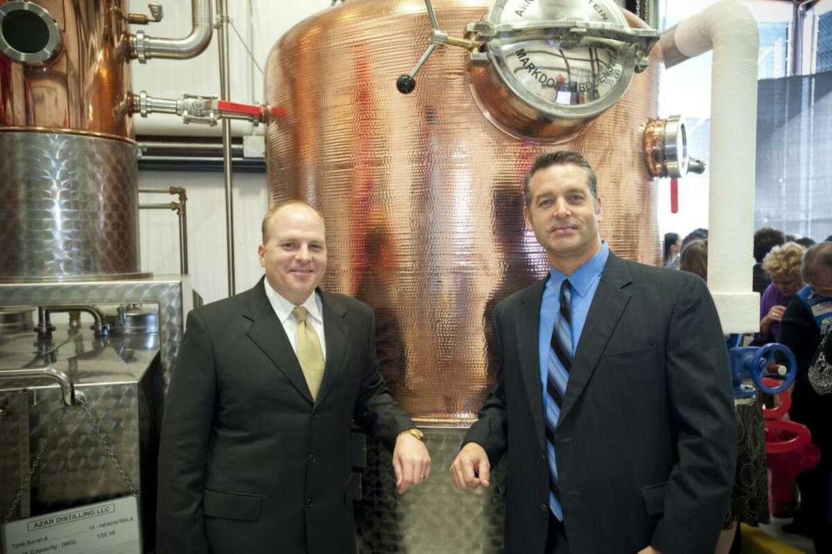 Cinco Vodka co-founders Trey Azar (left) and Steve Dean