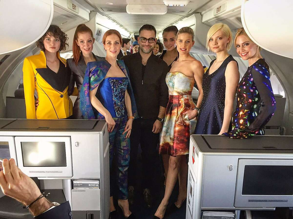 Designer Rubin Singer with models after his Fall 2017 fashion show on board a Lufthansa flight from Frankfurt to New York.