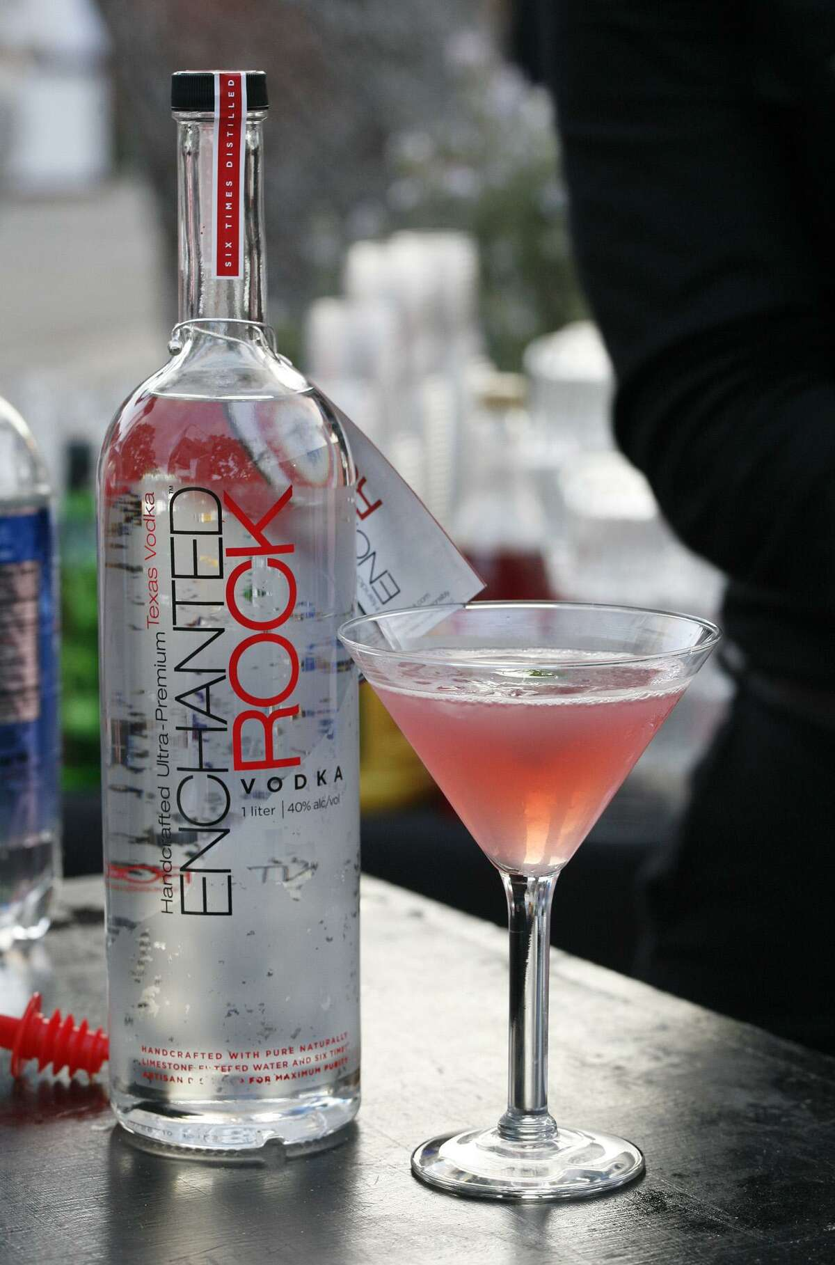 Enchanted Rock Vodka and a cosmopolitan at Rebecca Creek Distillery