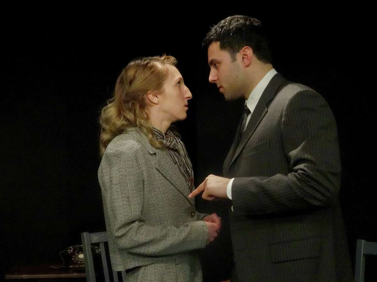 """Alcoholism wreaks havoc on the Clay family in """"The Days of Wine and Roses,"""" a gripping drama on stage at Curtain Call's Dressing Room Theatre in Stamford, Thursday, March 2, through Sunday, March 19. Seen here in rehearsal are Sunny Makwana and Nikki Neurohr."""