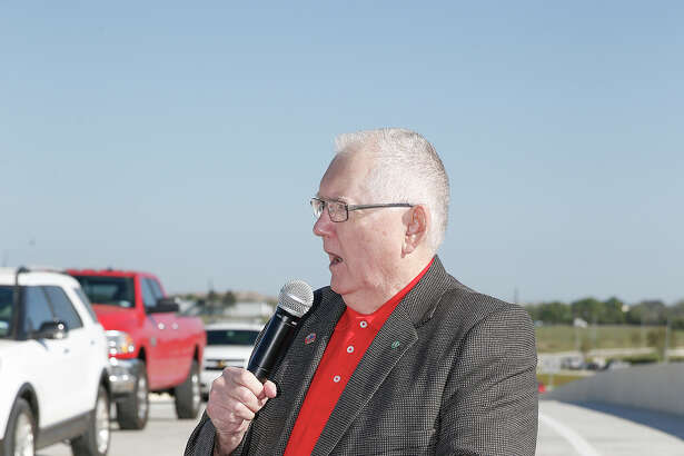 Mayor of Katy Fabol Hughes addresses City of Katy elected officials and TXDOT employees for the ceremonial ribbon cutting of the new Cane Island Parkway overpass in Katy on March 22, 2016.