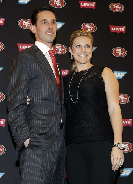 San Francisco 49ers head coach Kyle Shanahan, left, and his wife Mandy in an NFL football press conference Thursday, Feb. 9, 2017, in Santa Clara, Calif. (AP Photo/Marcio Jose Sanchez) Photo: Marcio Jose Sanchez, Associated Press